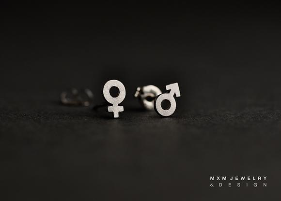 Female & Male Sign Stud Earrings