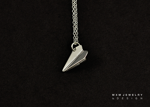 Small / Handfolded Paper Airplane Necklace