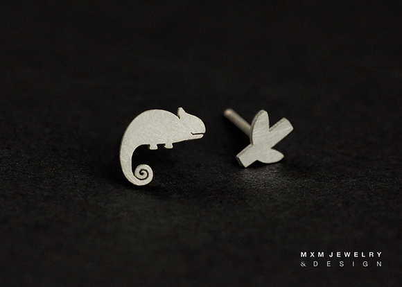 Chameleon & Little Branch Stud Earrings