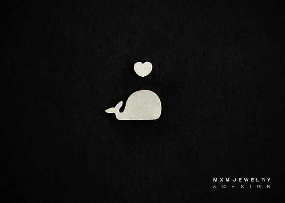 Whale & Mini Heart Stud Earrings