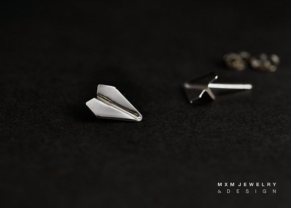 Handfolded Paper Airplane Stud Earrings