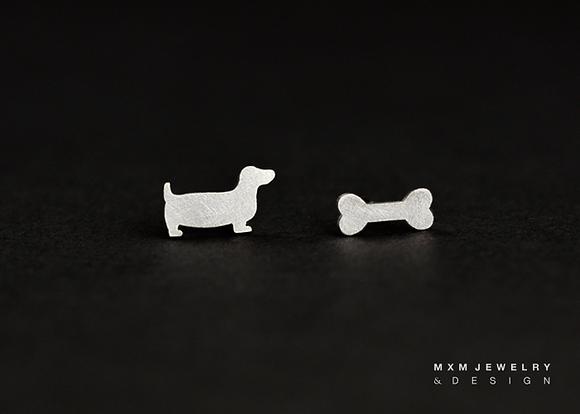 Dachshund & Bone Stud Earrings