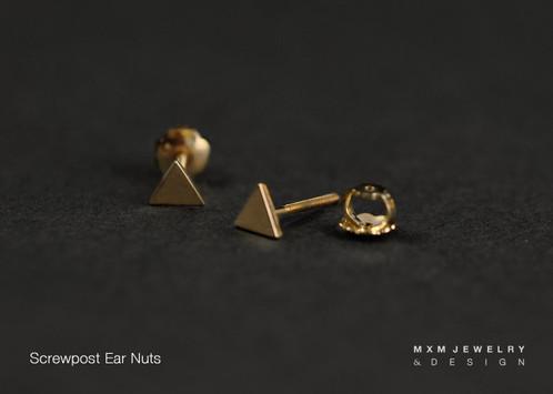 Gold Lightning Bolt Stud Earrings