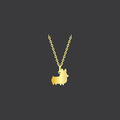 Corgi Necklace / Yellow GoldFilled
