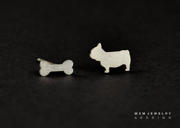 Bulldog & Bone Stud Earrings