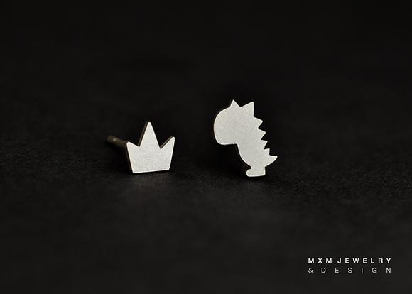 Baby Dinosaur & Crown Stud Earrings