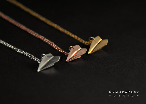 Medium / Gold / Handfolded Paper Airplane Necklace
