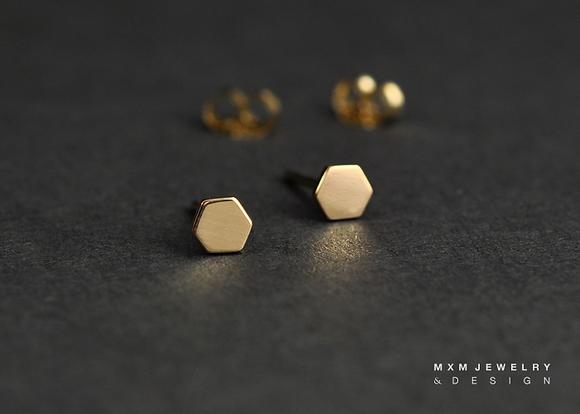 Gold / Hexagon Stud Earrings