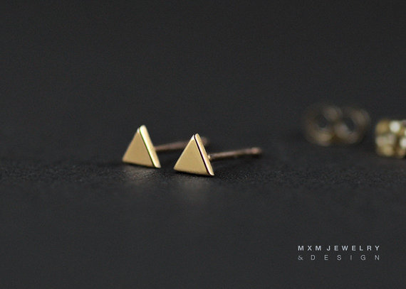 Gold / Triangle Stud Earrings