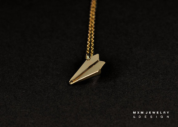 Small / Gold / Handfolded Paper Airplane Necklace
