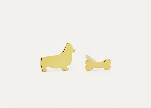 Corgi & Bone Stud Earrings