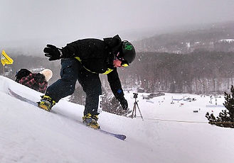 Snow boarder being timed with Jaguar lasers from Innovative Timing Systms