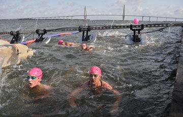Open water swim being chip timed with Jaguar from Innovative Timing Systems