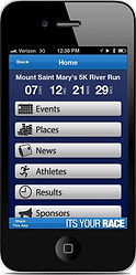 ITS YOUR RACE mobile app showing race results