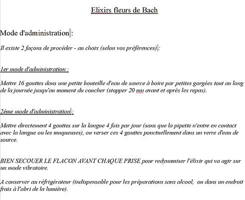 Mode d'Administration des Elixirs Fleurs de Bach