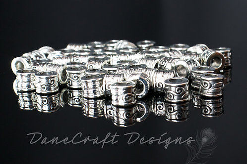 Antique Silver Scroll End Caps