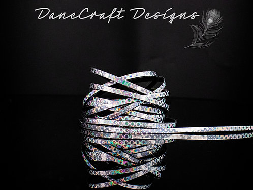 """3mm 1/8"""" Width SILVER HOLOGRAPHIC-SCALLOP"""