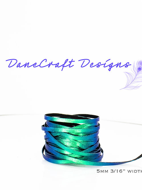 "5mm (3/16"") Width Kangaroo Lace-COLORSHIFTING-BLUE/GREEN"