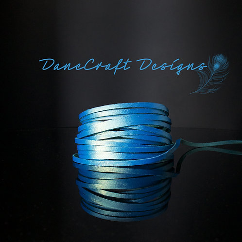 "3mm (1/8"") Width-CERULEAN BLUE METALLIC SHIMMER"