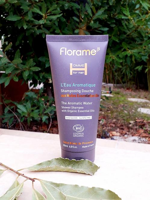 """SOIN HOMME - Florame """"L'Eau Aromatique"""" - Gel douche corps & cheveux 200 ml"""