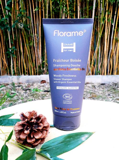 """SOIN HOMME - Florame """"Fraîcheur Boisée"""" - Gel douche corps & cheveux 200 ml"""