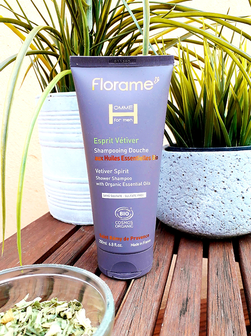 """SOIN HOMME - Florame """"Vetiver"""" - Gel douche corps & cheveux 200 ml"""