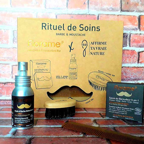 """COFFRET SOIN HOMME - Florame """"Homme for men"""" - Savon + Huile à barbe+accessoires"""