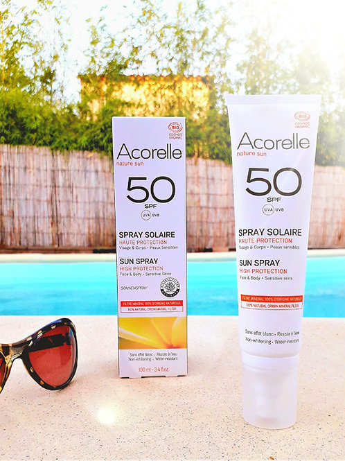 """SOIN SOLAIRE - Acorelle """"Visage &Corps"""" -  Spray SPF50 100ml peaux sensibles"""