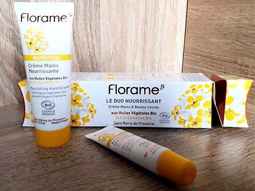 """COFFRET SOIN VISAGE & CORPS - Florame """"Nutrition"""" - Crème mains + baume lèvres"""