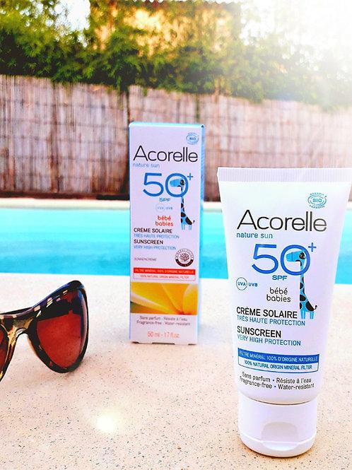 """SOIN SOLAIRE - Acorelle """"Visage & Corps"""" -  Crème solaire SPF50+Bébé 50 ml"""
