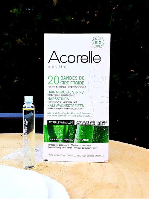 """SOIN CORPS - Acorelle """"Epilation"""" - 20 bandes de cire froide Aisselles & Maillot"""