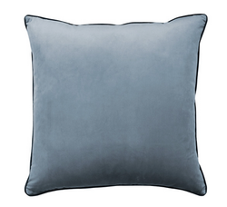A LITTLE THYME Clifton Glacier Piped Velvet Cushion