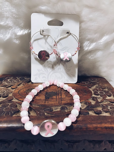 Breast cancer ribbon bracelet and earrings set