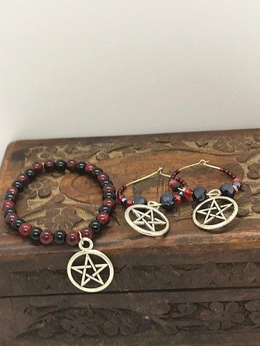 Pentagram /pentacle earring and bracelet set    *Free Shipping in U.S.*