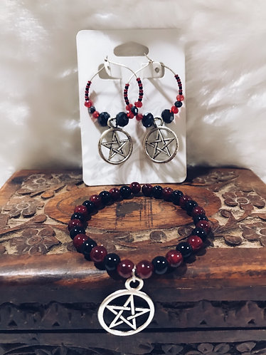 Pentagram /pentacle earring and bracelet set