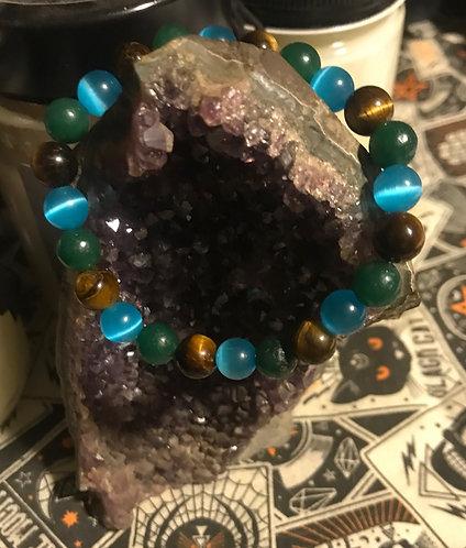 Custom sapiosexual pride bracelet with semi precious stones
