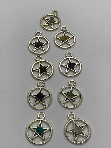 Semi precious pentagram /pentacle charms   *Free Shipping in U.S.*