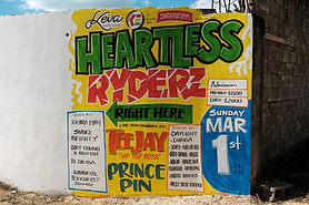 Heartless dancehall sign by Bug Art, Lttle London, Jamaica. Photgraph by documentray photographer TraceyThorne