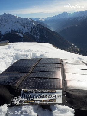 Foldable Solar Panel deployed on the snow on Mont Blanc