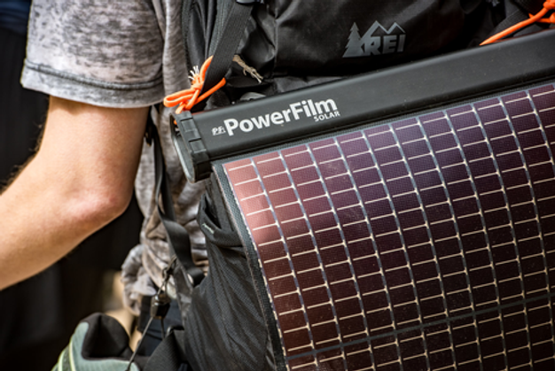 LightSaver Max Portable Solar Charger on a backpack