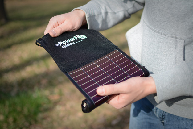 LightSaver Portable Solar Charger being unrolled