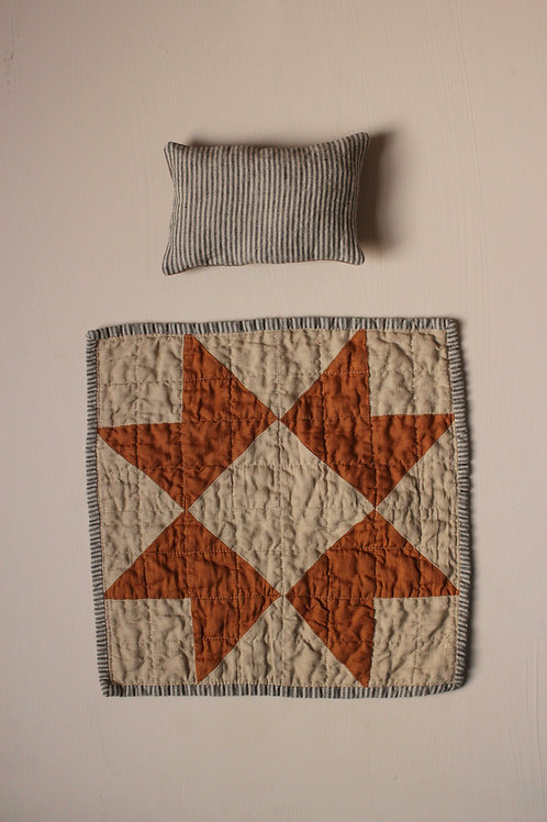 Heirloom Doll Quilt and Pillow set - Harvest