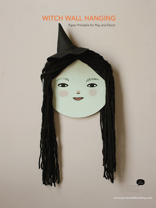 Printable Witch face Wall Hanging
