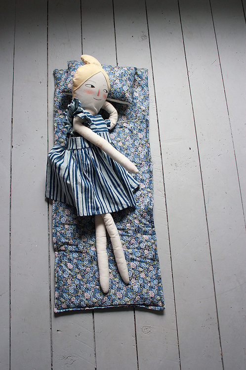 Doll Sleeping bag in Blue Ditsy Floral