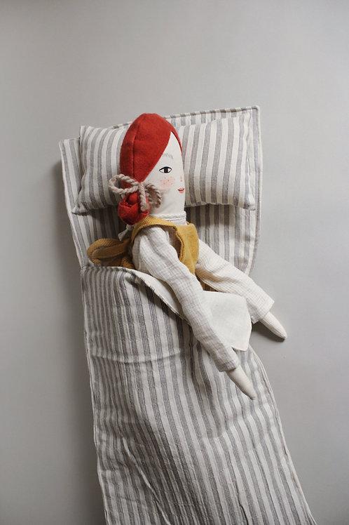 Doll Sleeping Bag - Midi Doll Size in R+C striped crepe