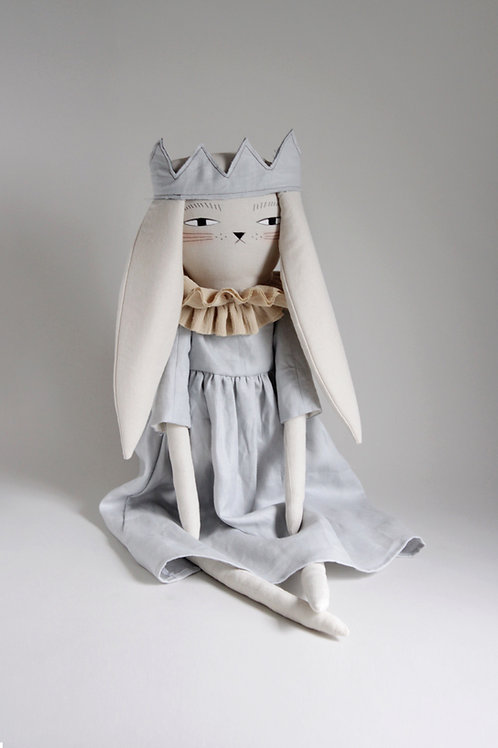 Ada the Bunny in linen crown - maxi size