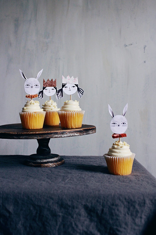 Nellie and Bunny Cupcake Topper Printable