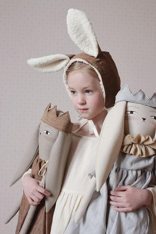 Child Size Bunny Bonnet in Cocoa Brown Linen