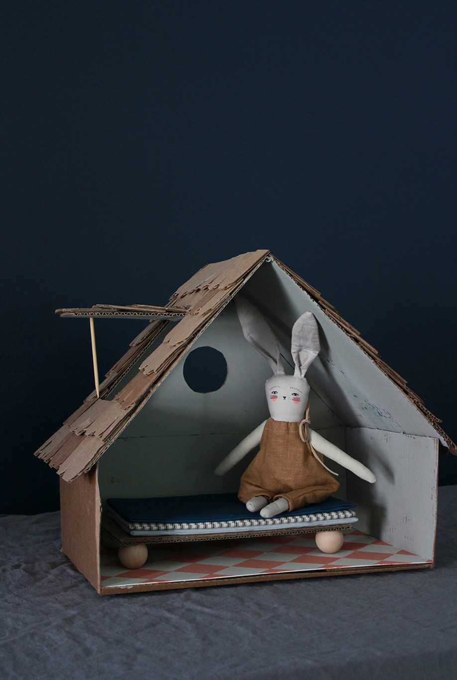 Make a Cardboard Cottage for Bitty Bunny Benjamin!