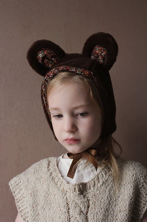 Child Size Bear Bonnet in Cholate Brown Faux Fur